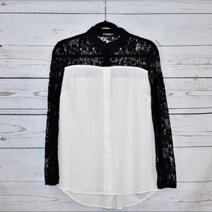 Express | Cream and Black Blouse | Lace | M